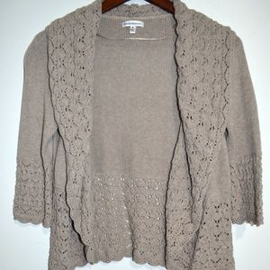 Croft & Barrow Cardigan Sweater M Beige Crochet